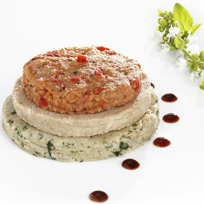 MIXE-HACHE - Burger de veau et sa purée d'aubergine, pois chiche et poivrons rouges