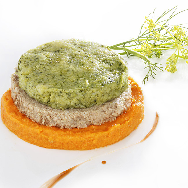 MIXE-HACHE - Burger de dinde, mousse de brocolis et purée de carottes