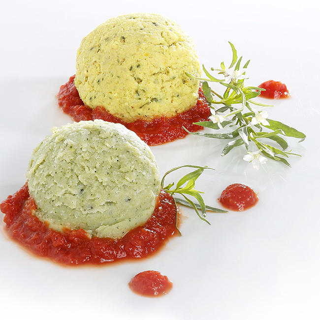 MIXE-HACHE - Duo lieu noir, mousse de courgettes, compotée de tomate