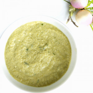 Mixé-lisse au Poulet, Brocolis, Navet et Ciboulette, riche en protéines
