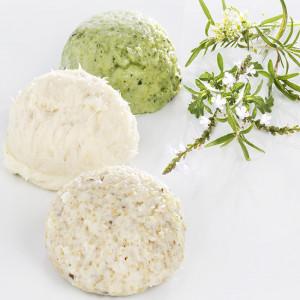 Effilé de cabillaud, dôme de courgette au romarin, fondant d'amarante et quinoa.
